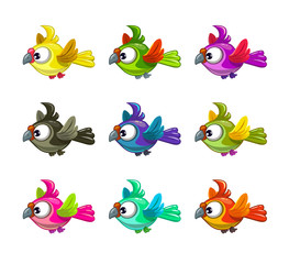 Little cute cartoon flying birds set