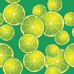 Vector illustration of lime slices on green background in different angles. Pattern.