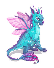Cartoon blue fantasy dragon