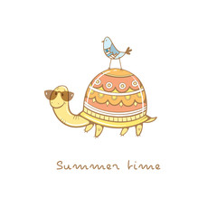Card with cute cartoon  turtle in sunglasses  and bird. Summer time. Children's illustration. Funny animals. Vector colorful  image.