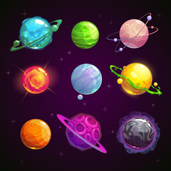Colorful cartoon fantasy planets set