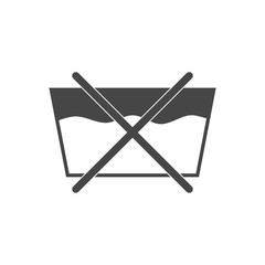 No washing by machine or hands, black vector icon