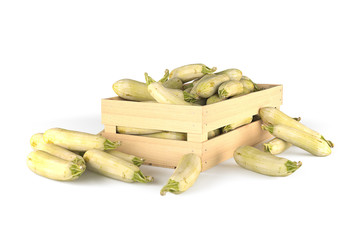 Squash in a wooden box. Isolated. 3D rendering