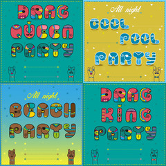 Invitations to party. Vintage artistic font