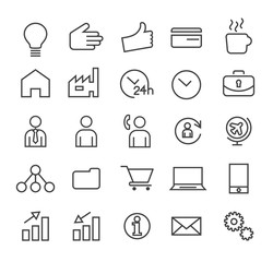 Set of Minimal Simple Elegant Black Thin Line Business Icons on White Background.