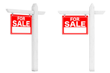 For Sale Real Estate Signs. 3d Rendering