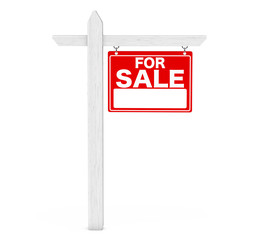 For Sale Real Estate Sign. 3d Rendering