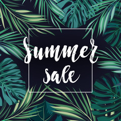 Summer sale concept. Calligraphy banner with tropical flowers and green exotic leaves.