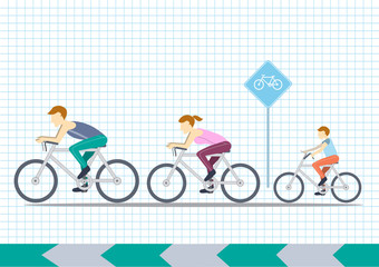Mom, Dad and kids ride bikes,Sport family,vector illustrations