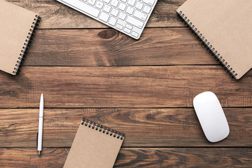 Business Composition Hipster Style on Wooden Background