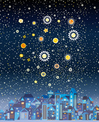 Beautiful night city with the stars