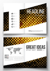 Set of business templates for brochure, magazine, flyer, booklet or annual report. Abstract polygonal background, modern stylish square design golden vector texture