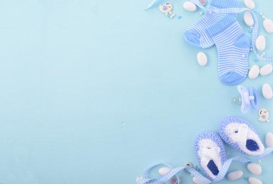 Blue Baby Shower Nursery Background