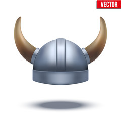 Viking helmet with horns isolated