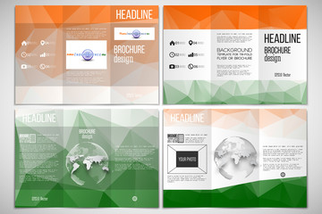 Set of tri-fold brochure design template on both sides with world globe element. Background for Happy Indian Independence Day celebration, Ashoka wheel and national flag colors, vector illustration.