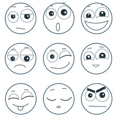 Set of smiley faces expressing different feelings, illustration on white background