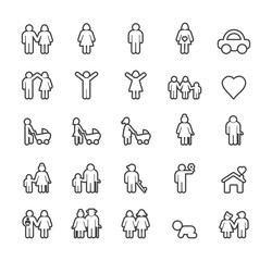 Set of Quality Isolated Universal Standard Minimal Simple Black Thin Line Family Icons on White Background.