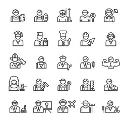 Set of Quality Universal Standard Minimal Simple Profession Black Thin Line Icons on White Background.
