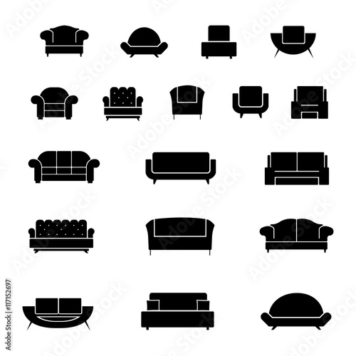 """Art Couch Icon Section: """"Armchair, Chairs, Sofa And Couch Vector Icons Set"""" Stock"""