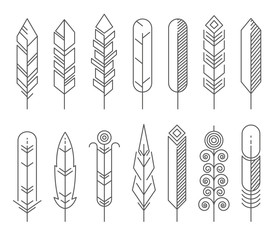 Wall Mural - Hipster line feathers vector set