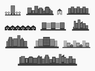Architecture icons silhouettes set, skylines and houses vector d