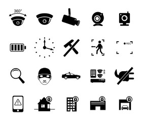 Vector set of video surveillance and security systems icons. Illustration of black and white protection pictograms.