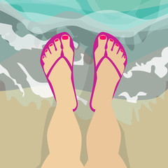 Female feet in shales , standing in sea water, Caucasian