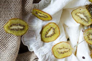 Kiwi dehydrated. Natural organic vegetarian food. Healthy snack