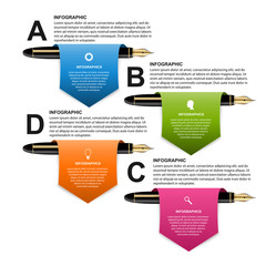 Business infographic design template. Colored ink pens. Vector illustration.