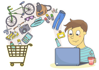 Online shopping for clothes, fashion accessories and things for leisure and hobby. Man shopping with laptop.