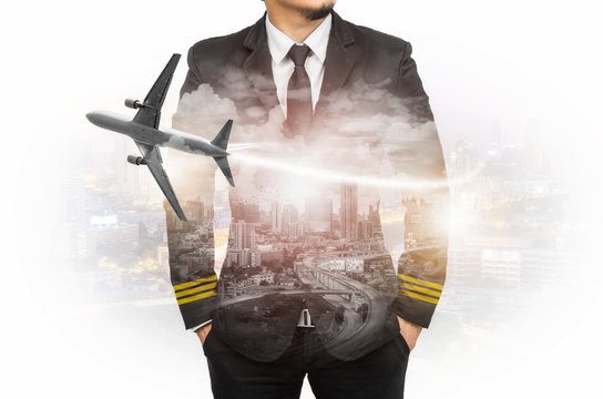 Double exposure pilot wearing suit