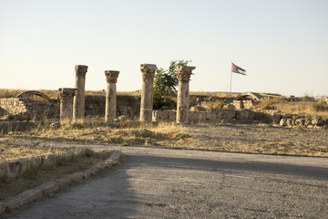Amman Citadel pillars with Jordan Flag