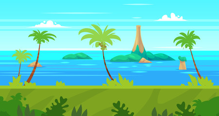 Cartoon nature seamless landscape with sea and palm