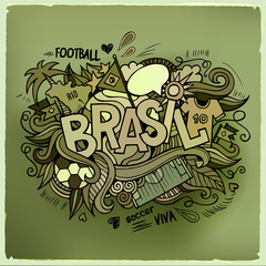 Brasil Summer Vector hand lettering and doodles elements