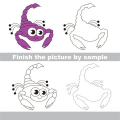 The scorpio. Simple drawing worksheet.