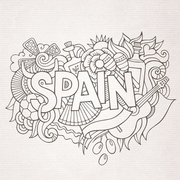 Spain country hand lettering and doodles elements