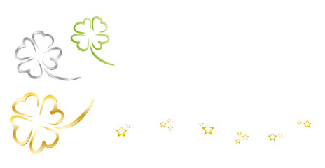 Banner aus Glücksklee und Sternen - Frohes neues Jahr, Neujahr, Neues Jahr, Silvester, Jahreswechsel