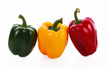 Wall Mural - Sweet pepper red yellow and green on white background