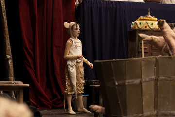 young girl performing in theater play