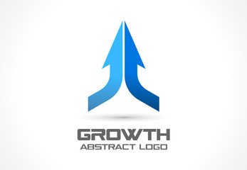 Abstract business company logo. Corporate identity design element. Technology, market logotype idea. Connected arrow up, growth, progress integrate and success concept. Vector interaction icon