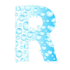 Letters soap bubbles, water droplets. Letter from the water bubbles. Aqua letter. Vector illustration.