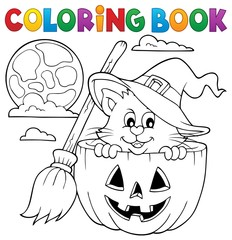 Printed roller blinds For Kids Coloring book Halloween cat theme 1