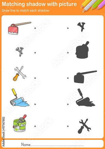 """Kitchen Tools Worksheet match kitchen tools with shadow - worksheet for education"""" stock"""