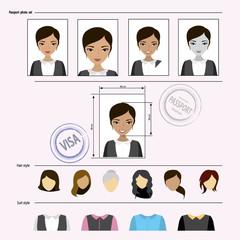 Face asian woman set