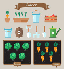 Vegetable garden planner flat design.Beds with cabbage, carrots.
