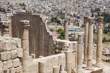 old romans ruins pillars in Jerash in Jordan