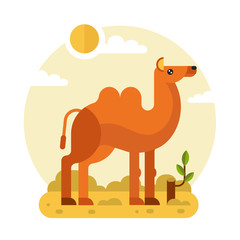 Flat design vector geometric illustration of cute Bactrian or two-humped camel and stump with a branch in the hot Desert. Including sun, sand, clouds, leaves. Animal in the wild nature concept.
