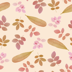 vintage color leaves on white for natural concept background
