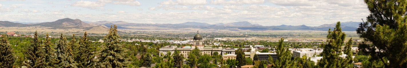 Wide Panoramic Capital Dome Helena Montana State Building