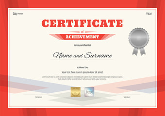 Certificate of Achievement template in modern theme with red border